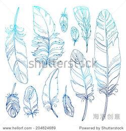 印第安人简笔画-Set of ornamental feathers. Ethnic jewelry, folk costume