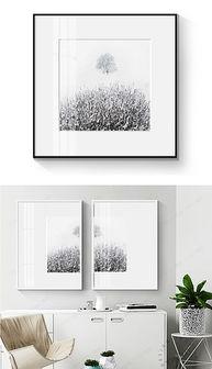 现代简约手绘黑白创意大树装饰画无框画-JPG抽象手绘大树 JPG格式...