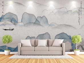 现代简约线描山水画客厅沙发新中式背景墙