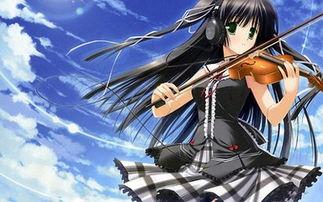 求动漫女生在弹钢琴或者在拉小提琴