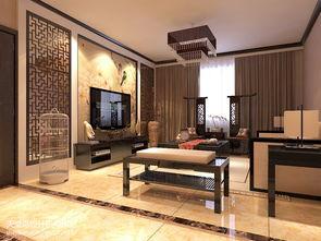 中式_ 中式 客厅 电视背景墙墙纸 装修效果图欣赏-中式电视背景墙墙纸