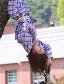 女星拍戏倒吊在树上 衣服滑落竟露出这个