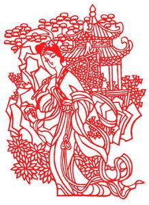 古典剪纸图案大全之宫女采花剪纸教程说明