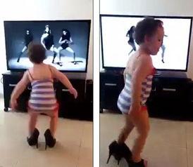 巴西宝宝穿高跟鞋模仿碧昂丝 搞笑视频点击过千万