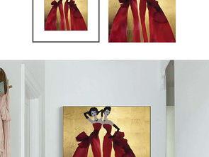 ...复古俩红色美女裙子绘画装饰画