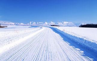 白雪覆盖的遥远道路素材图片背景图片下载素材