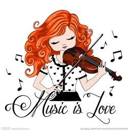 矢量拉小提琴的女孩图片