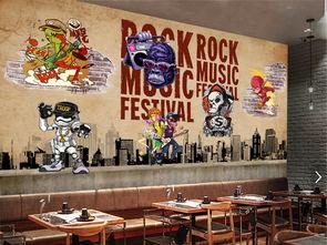 复古动漫嘻哈骷颅头摇滚酒吧KTV背景墙图片设计素材 高清psd模板下...