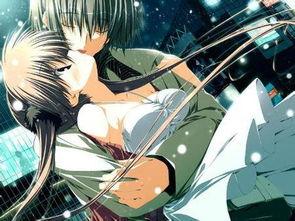动漫情侣雪地亲吻
