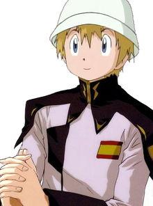 ...一张数码宝贝的高石武穿着高达SEED的扎夫特白指挥官军装的图...
