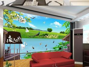 窗外草原3D背景墙装饰画卧室背景墙图模板图片设计素材 高清psd下载...