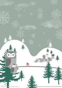 卡通户外雪景素材背景图片