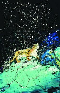 雪的谚语10个-在这幅接近三米高的大型油画上,曾梵志描绘出一只猎豹,小心翼翼地...