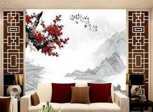 客厅电视背景墙瓷砖背景墙梅花
