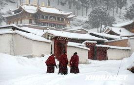 雪的名字-这是雪中的郎木寺(3月1日摄).   连日来,甘肃省甘南藏族自治州大...