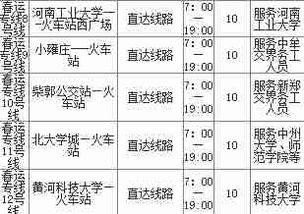 公交开通春运专线 郑州公交14条春运专线线路图时刻表