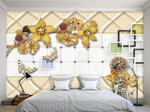 3D软包高档奢华金色镶钻花朵珠宝背景墙