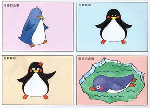 卡通企鹅简笔画彩色图片