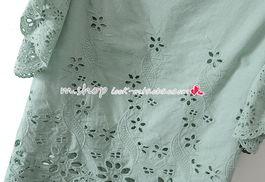 ... 2色 简单网www.J.cn -C9671 日系夏季女装圆领荷叶袖镂空刺绣花朵...
