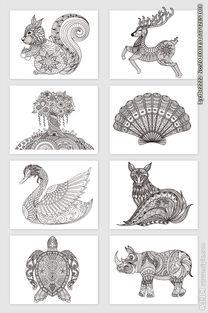 动物植物花纹剪纸矢量素材图片