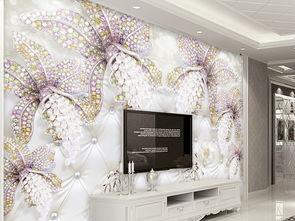 3d高档欧式复古花卉镶钻珠宝软包背景墙