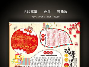 鸡年春节电子小报手抄报模板