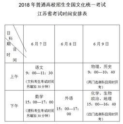 江苏2018年高考考试时间及考试科目公布