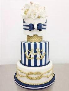 ...热 海军蓝婚礼蛋糕
