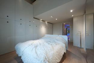 动天窗和一个小视频房间、健身区,以及书架上非对称不锈钢结构和卷...