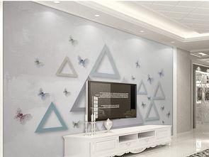 ...蝴蝶三角形几何3D立体卧房背景墙壁画图片设计素材 高清psd模板下...