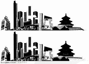 北京城市剪影矢量图