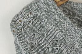 韩国韩版烟灰色带蕾丝边毛线衫