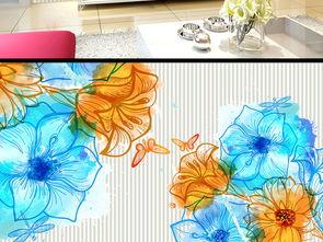 日韩风手绘水彩花卉背景墙卧室背景墙壁画