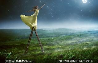 梯子上可摘星月的美女创意高清图片