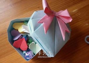 带盖子爱心盒子的折法 情人节爱心盒子折纸