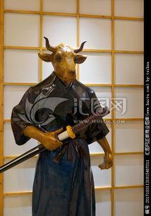日本武士雕塑 日本牛头武士塑像