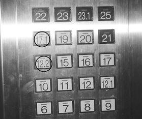...看到这样的楼层标号,是不是一头雾水? /摄-12.1 代表第13层 电梯标...