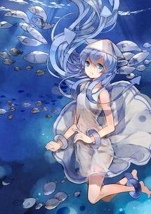 在水里时 动漫 插画 水里 少女 水波 封面 头像