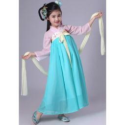 ...装 儿童襦裙仙女装女童汉服齐胸襦裙小孩春游服装改良汉-儿童演出...