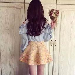 韩版女生背影