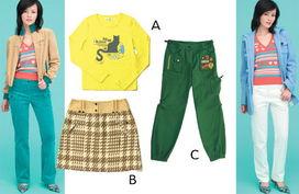 淫色a网-▲a、黄色T恤 190元/b 、花呢短裙 390元/c、运动收腿裤 390元-服装 ...