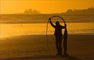 光影盛宴 夕阳下的沙滩剪影摄影作品