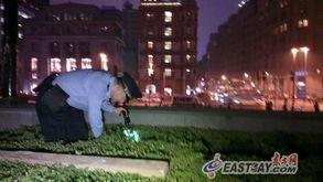 ...草丛中,警方在夜幕下打着手电仔细地察看每一处可疑的地方.  -上...