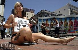 花花公子 模特街头半裸反对肉食 4