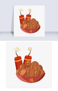 新年年货食物和爆竹插画图片素材 PSB格式 下载 其他大全