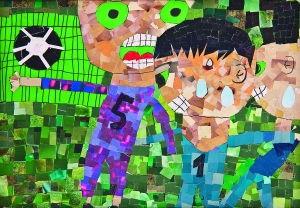 儿童画《快乐足球》 作者:徐心蕊(10岁)-我爱画画 组图