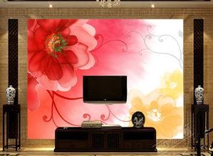 电视客厅沙发背景墙瓷砖背景墙梦幻花朵图片设计素材 高清psd模板下...