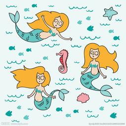 人鱼素描-手绘可爱的美人鱼图片