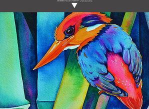 北欧唯美手绘水彩七彩竹子鹦鹉无边装饰画