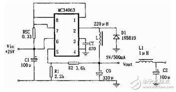 mc34063应用电路图(七):MC34063A构成的供电电源电路-mc...